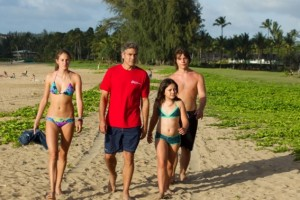 The revamped King family, from left to right: Alexandra (Shailene Woodley), Matt (George Clooney), Scottie (Amara Miller), and their friend Sid (Nick Krause).