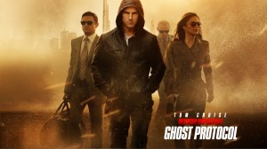 The new IMF team, from left to right: William Brandt (Jeremy Renner), Ethan Hunt (Tom Cruise), Benji Dunn (Simon Pegg), and Jane Carter (Paula Patton).