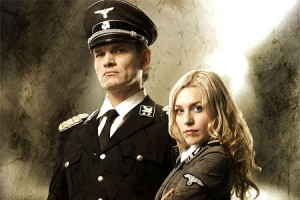 Obersturmbannführer Klaus Adler (Götz Otto, left) and Renate Richter (Julia Dietze, right), the future power couple of the Space Nazis.