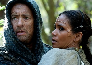 Zachry (Tom Hanks) and Meronym (Halle Berry) in the post-apocalyptic section of Cloud Atlas