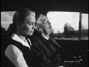 The elderly Dr. Isak Borg (Victor Sjöström, right) and his daughter-in-law Marianne (Ingrid Thulin) on their trip of a life.
