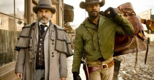 Dr. King Schultz (Christoph Waltz) and Django Freeman (Jamie Foxx) go about their bounty-hunting business.