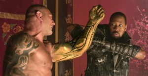 'Brass Body' (David Bautista, left) fights 'The Man with the Iron Fists' (RZA, right).