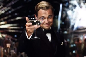 The eccentric, enigmatic millionaire Jay Gatsby (Leonardo DiCaprio) is literally the toast of the town.