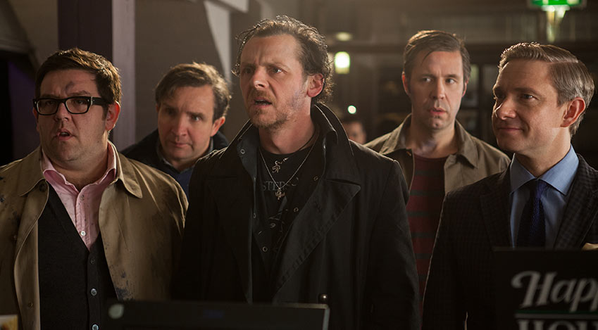 Andy Knightley (Nick Frost), Peter Page (Eddie Marsan), Gary King (Simon Pegg), Steven Prince (Paddy Considine), and Oliver Chamberlain (Martin Freeman, from left to right) don't believe their own eyes.