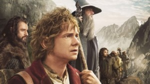 Bilbo Baggins (Martin Freeman, front), Gandalf the Gray (Ian McKellen, center), and the Dwarves await the Orcs.