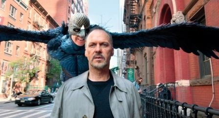 Riggan Thompson (Michael Keaton, front) is always haunted by Birdman.