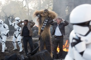 Finn (John Boyega), Chewbacca (Peter Mayhew), and Han Solo (Harrison Ford, from left to right) are in the hands of the Stormtroopers once again.